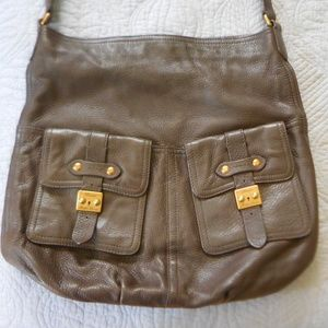 RALPH LAUREN LEATHER CARGO POCKET HOBO BAG